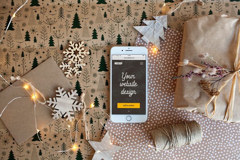 iPhone7 Plus & Christmas decorations – 9 photo mockups