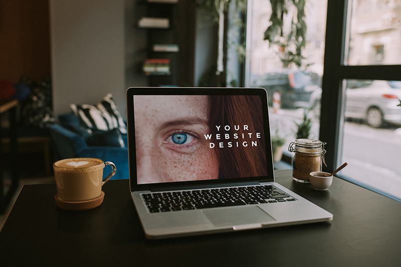Macbook in the cafe – 7 photo mockups