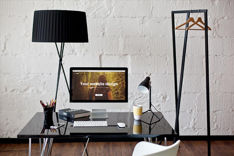 iMac B&W workspace – 6 photo mockups