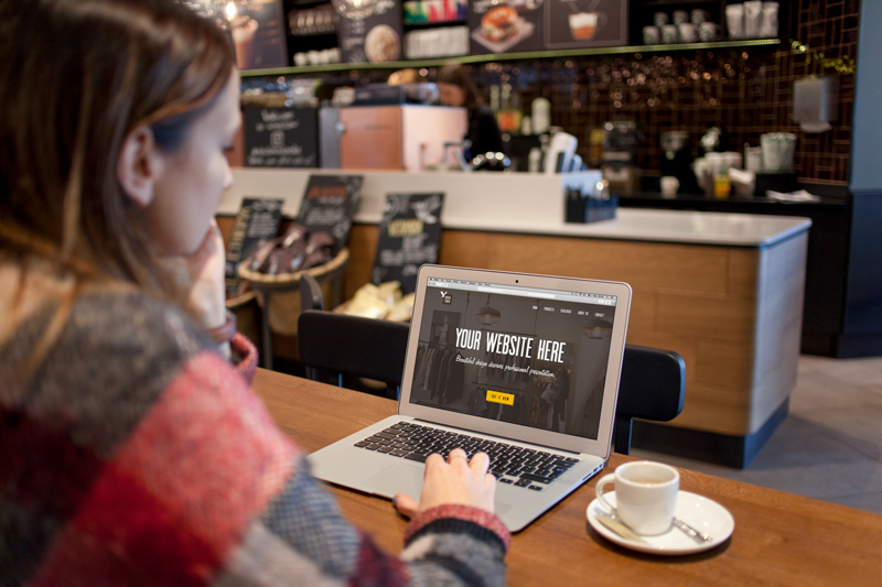 MacBook Air in the cafe – 8 photo mockups