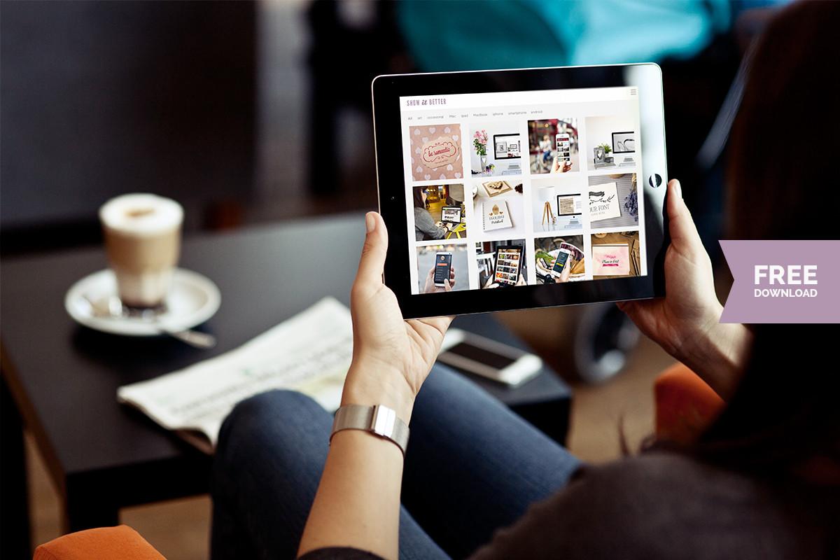 Woman using iPad at cafeteria – free photo mockup